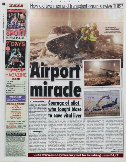 Airport miracle in Sunday Mercury