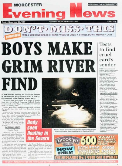 Newspaper Boys make grim river find
